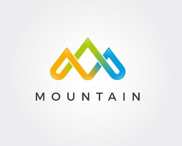 モダンなスタイルのシンプルなロゴ。文字mの形で山の頂上。