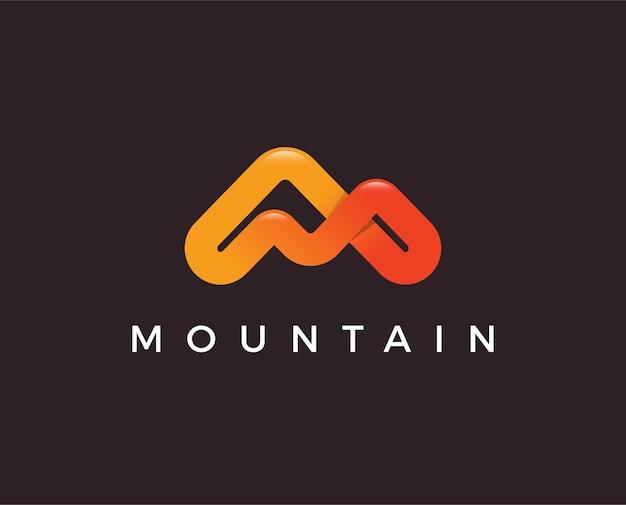 현대적인 스타일의 심플한 로고. 문자 m의 형태로 산 꼭대기