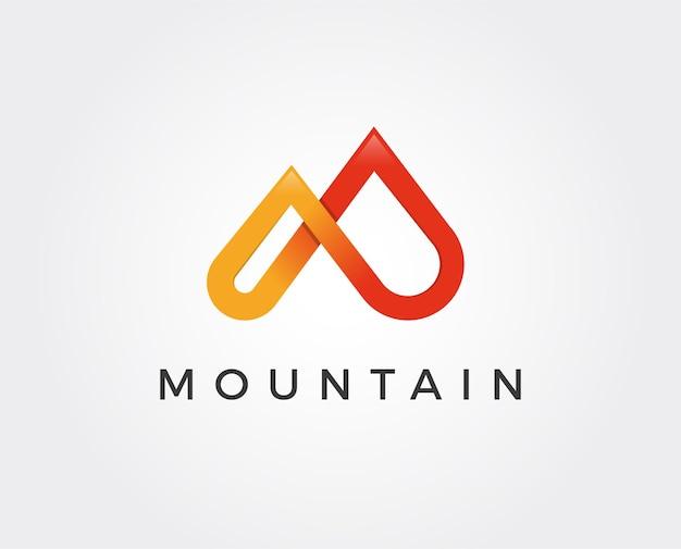 モダンなスタイルのシンプルなロゴ。文字mの形で山の頂上