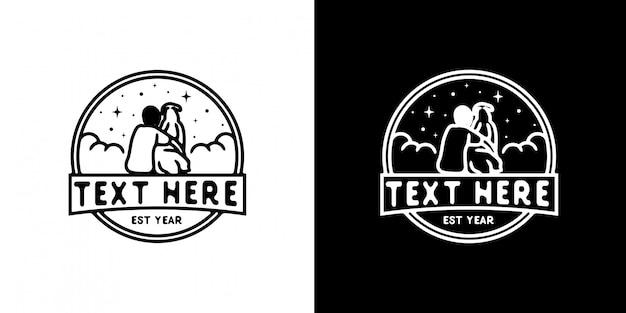 シンプルなロゴの男と犬のモノラインデザイン