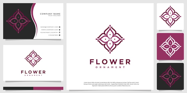 花や植物をテーマにした曼荼羅のシンプルなロゴ