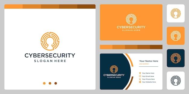 Простой логотип безопасной защиты с передовой технологической системой, линейный логотип системы безопасности с замком premium векторы