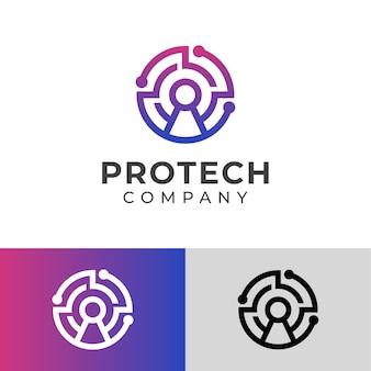 Простой логотип безопасной защиты с передовой технологической системой, линейный логотип системы безопасности с замком.