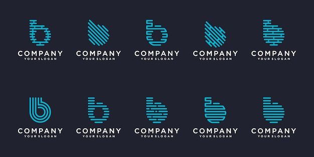 간단한 로고 타입 아이콘 세트, 문자 b 결합 요소 디지털 또는 데이터. 로고 디자인 템플릿