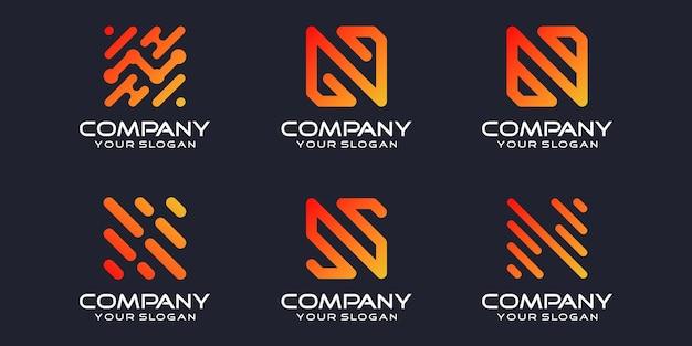 간단한 로고 타입 아이콘 세트, 문자 n 결합 요소 디지털 또는 데이터. 로고 디자인 템플릿