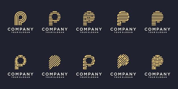 シンプルなロゴタイプアイコンセット、文字p結合要素デジタルまたはデータ。ロゴデザインテンプレート