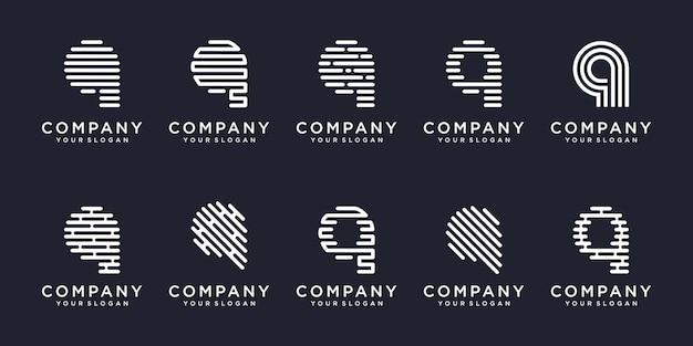 シンプルなロゴタイプのアイコンセット、文字q結合要素デジタルまたはデータ。ロゴデザインテンプレート