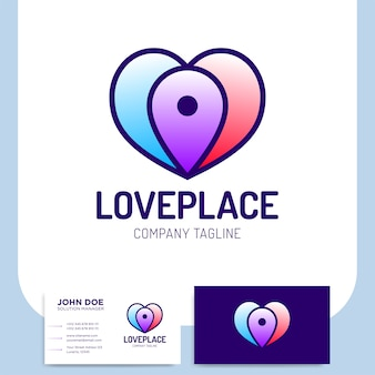 간단한 사랑들 장소 로고 또는 핀 탐색 아이콘 템플릿 디자인