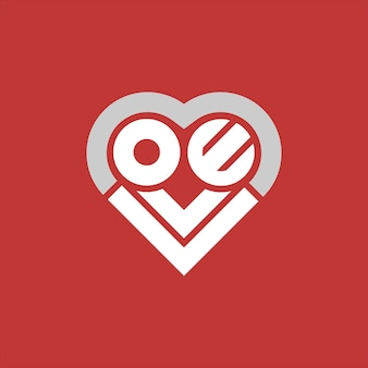 Simple love logo text in heart shaped vector