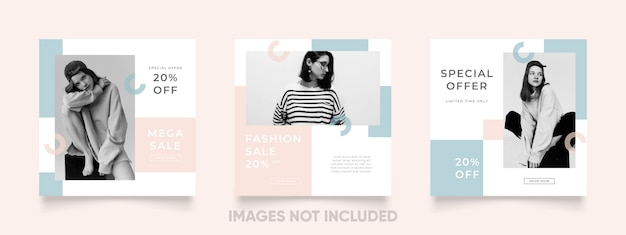 Simple and lovely colored instagram post template