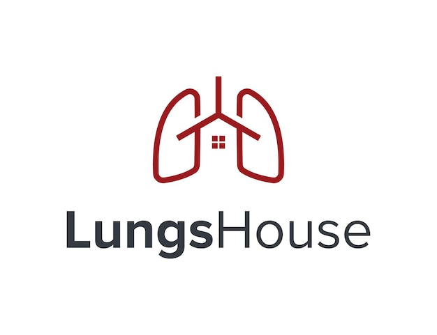 Simple lungs with house home simple sleek geometric modern logo design