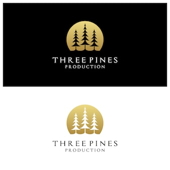 Simple luxury golden evergreen pine trees logo