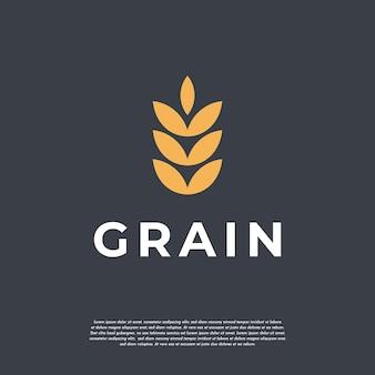 Простая роскошная концепция логотипа зерна пшеницы, значок вектора шаблона логотипа пшеницы сельского хозяйства