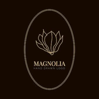 不動産のシンプルなモクレンの花のロゴのイラスト。茶色の背景にタイポグラフィと植物の花のエンブレム