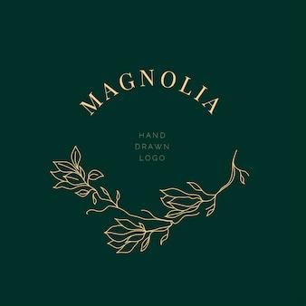 Simple magnolia flower logo illustration for real estate. botanical floral emblem with typography on brown background