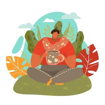 Состав простой человек, домашнее растение, современный природный травяной объект, тропический фон, иллюстрация. элементы декора зелени, личное свободное пространство, концепция зелени.