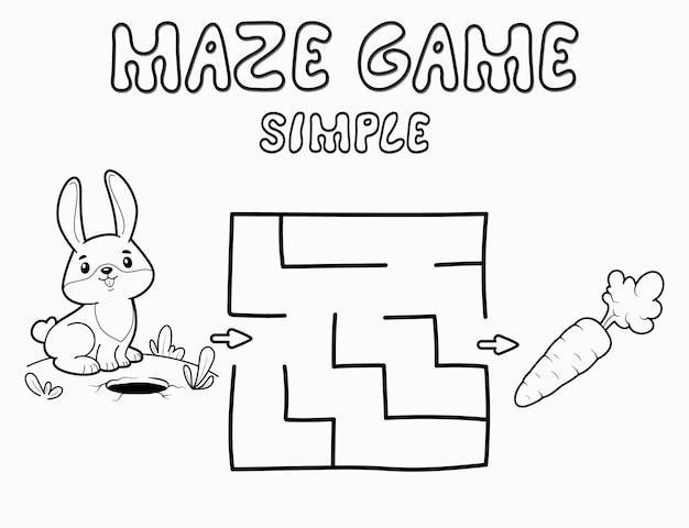 Simple maze puzzle game for children. outline simple maze or labyrinth game with rabbit. vector illustrations