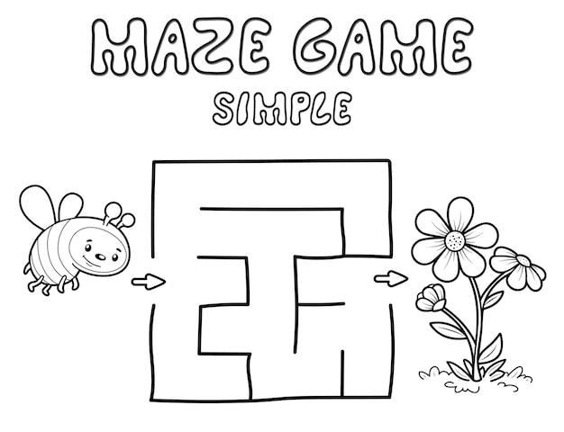 Простая игра-головоломка в лабиринте для детей. набросайте простой лабиринт или игру-лабиринт с пчелой. векторные иллюстрации