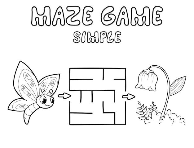 어린이를 위한 간단한 미로 퍼즐 게임. 나비와 꽃으로 간단한 미로 또는 미로 게임을 설명합니다. 벡터 일러스트