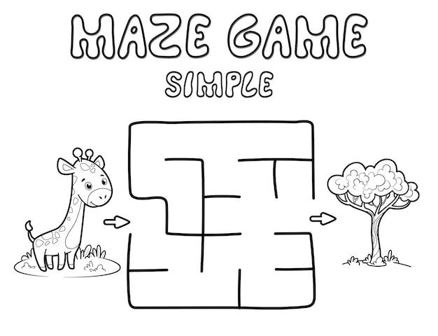 어린이를 위한 간단한 미로 퍼즐 게임. 기린과 함께 간단한 미로 또는 미로 게임을 설명합니다. 벡터 일러스트