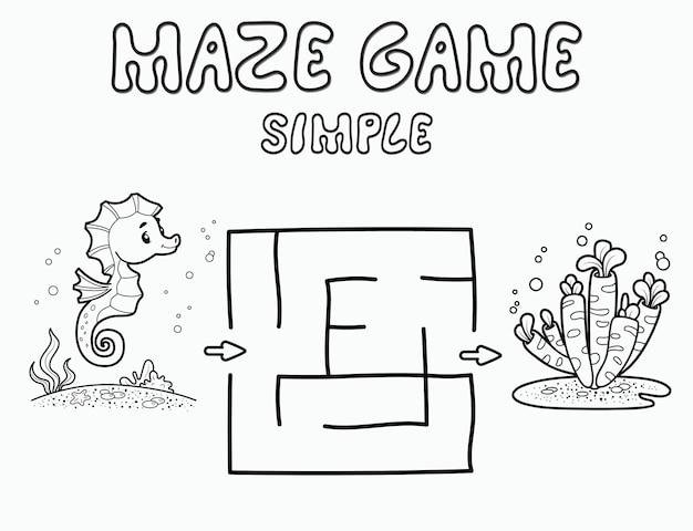 子供のためのシンプルな迷路パズルゲーム。タツノオトシゴを使った簡単な迷路や迷路ゲームの概要を説明します。ベクトルイラスト