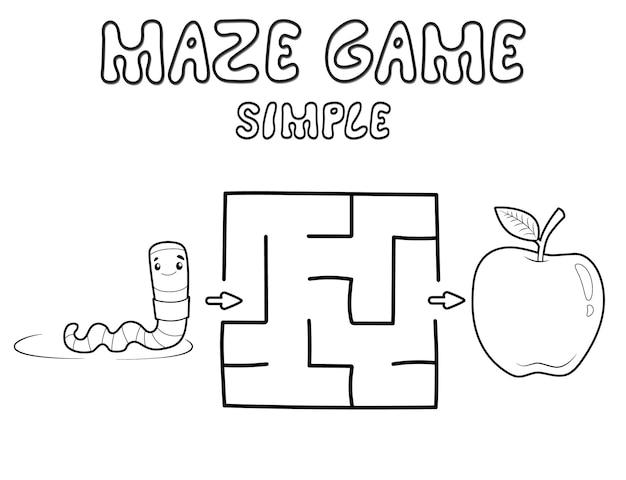 子供のためのシンプルな迷路パズルゲーム。ワームを使った簡単な迷路や迷路ゲームの概要を説明します。ベクトルイラスト