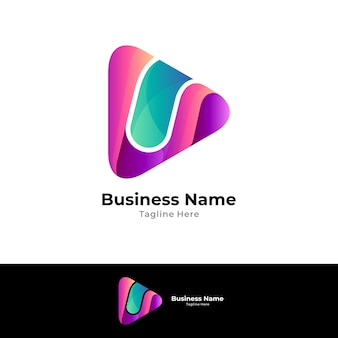 Simple media play logo template