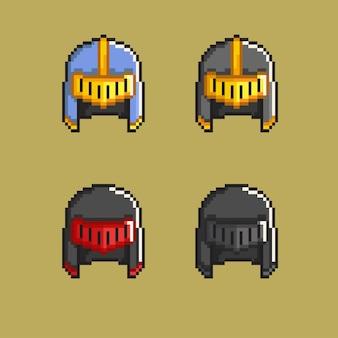 픽셀 아트 스타일로 설정된 간단한 중세 헬멧