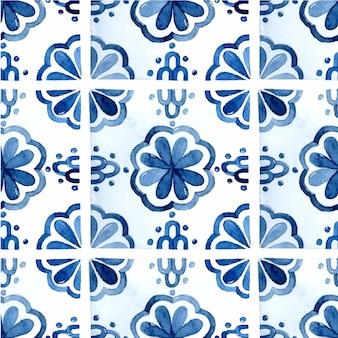 シンプルな地中海タイルのシームレスなパターンの水彩画の背景