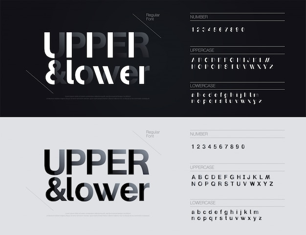 Simple minimal fonts with shadow paper cut style