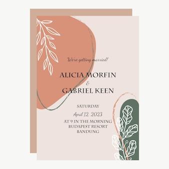 Simple minimalist boho invitation card template