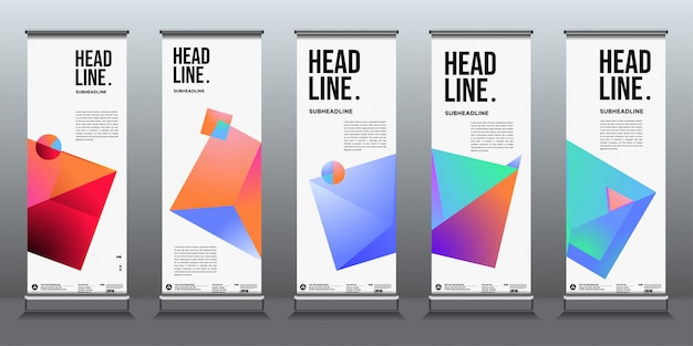 Simple and minimalist colourful geometric roll up banner