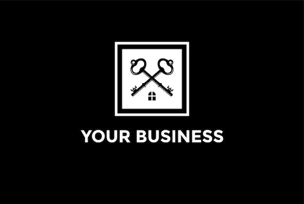 不動産のロゴデザインベクトルのための家の屋根とシンプルなミニマリストの交差キー