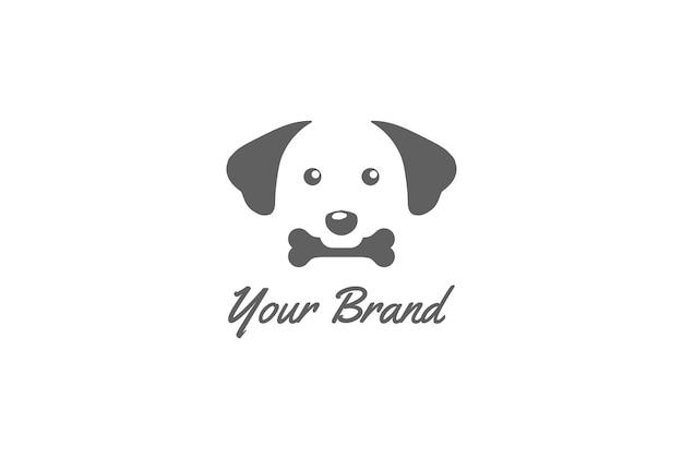 애완 동물 클리닉 로고 디자인 벡터에 대 한 간단한 미니 멀 귀여운 강아지 비트 뼈 얼굴
