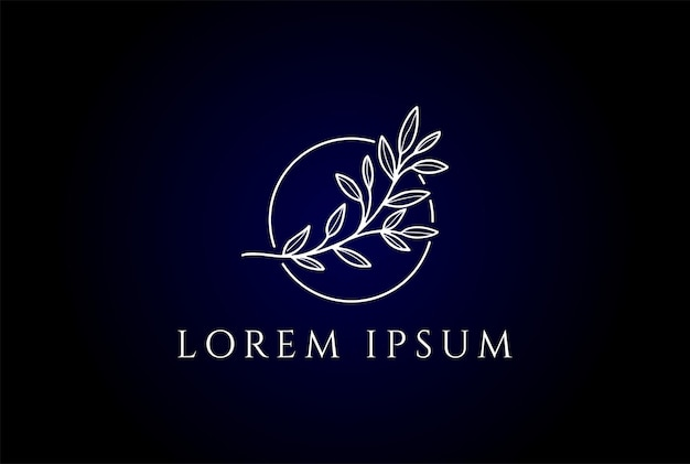 Simple minimalist elegant nature leaf line for beauty wellness cosmetic product logo design vector