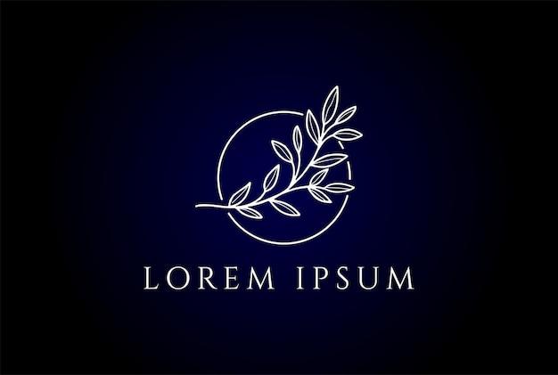 美容ウェルネス化粧品のロゴデザインベクトルのためのシンプルなミニマリストエレガントな自然の葉のライン