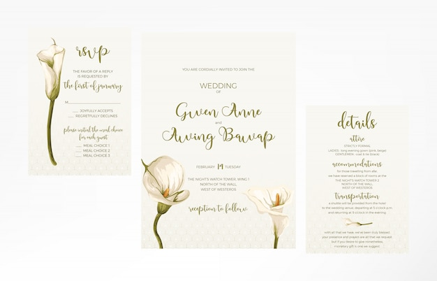 Simple and minimalist feminine wedding invitation template