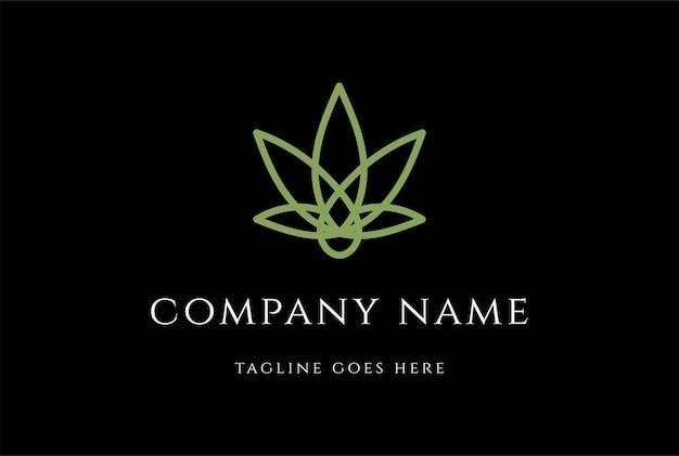 대마 cbd 오일 로고 디자인 벡터를 위한 오일 드롭이 있는 간단한 미니멀리스트 간자 마리화나 대마초 잎
