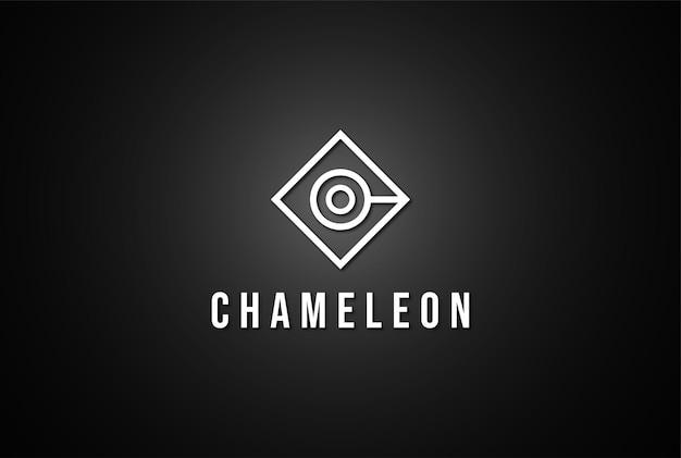 ファッションアパレルロゴデザインベクトルのシンプルなミニマリスト幾何学的なカメレオンの頭