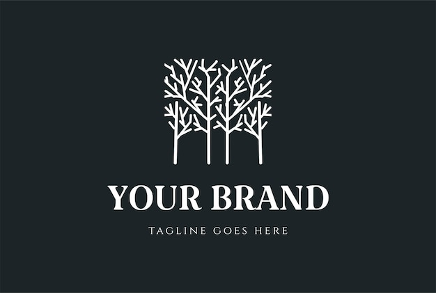 Простой минималистский геометрические растения, деревья, лес для сада, парка, окружающей среды, дизайн логотипа, вектор
