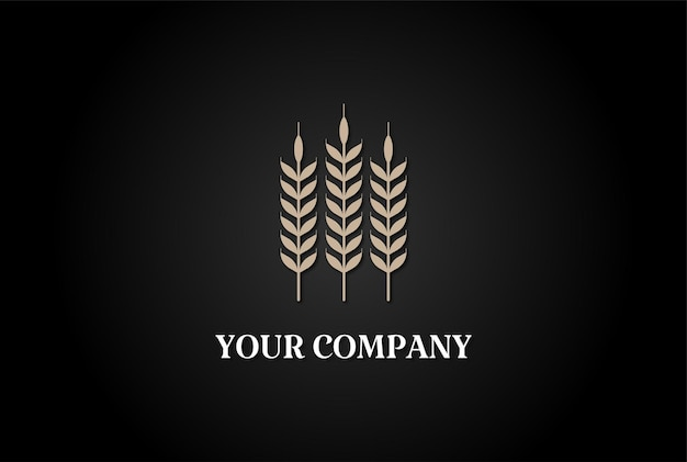 양조장 또는 빵집 로고 디자인 벡터를 위한 간단한 미니멀리스트 황금 곡물 밀 쌀