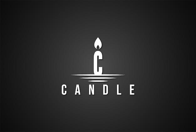 촛불 불꽃 화재 로고 디자인 벡터에 대 한 간단한 미니멀리스트 초기 문자 c
