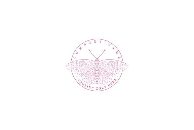 뷰티 패션 로고 디자인 벡터에 대 한 간단한 미니 멀 곤충 나비