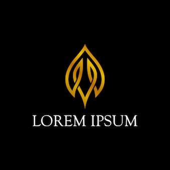 Simple minimalist leaf logo with line art style