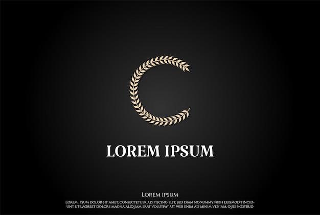 Простой минималистский буква c для вектора дизайна логотипа зерна пшеницы и риса
