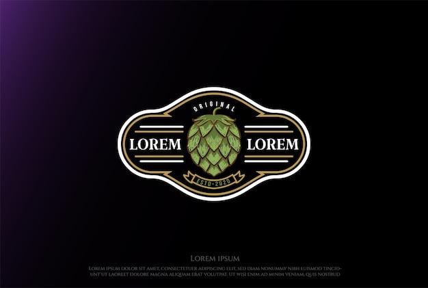 Simple minimalist luxury hop for  craft beer brewing brewery emblem logo design vector