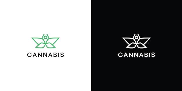 대마 cbd 오일 로고 디자인 벡터 premium을 위한 오일 드롭이 있는 단순한 미니멀리즘 마리화나 대마초 잎