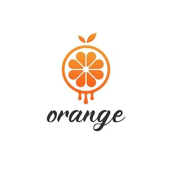 シンプルなミニマリストのモダンなドリップオレンジのロゴ