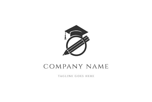 교육 학교 대학 로고 디자인 벡터를 위한 간단한 미니멀리스트 펜 졸업 모자