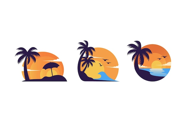 Simple minimalist summer sunset logo design vector template set